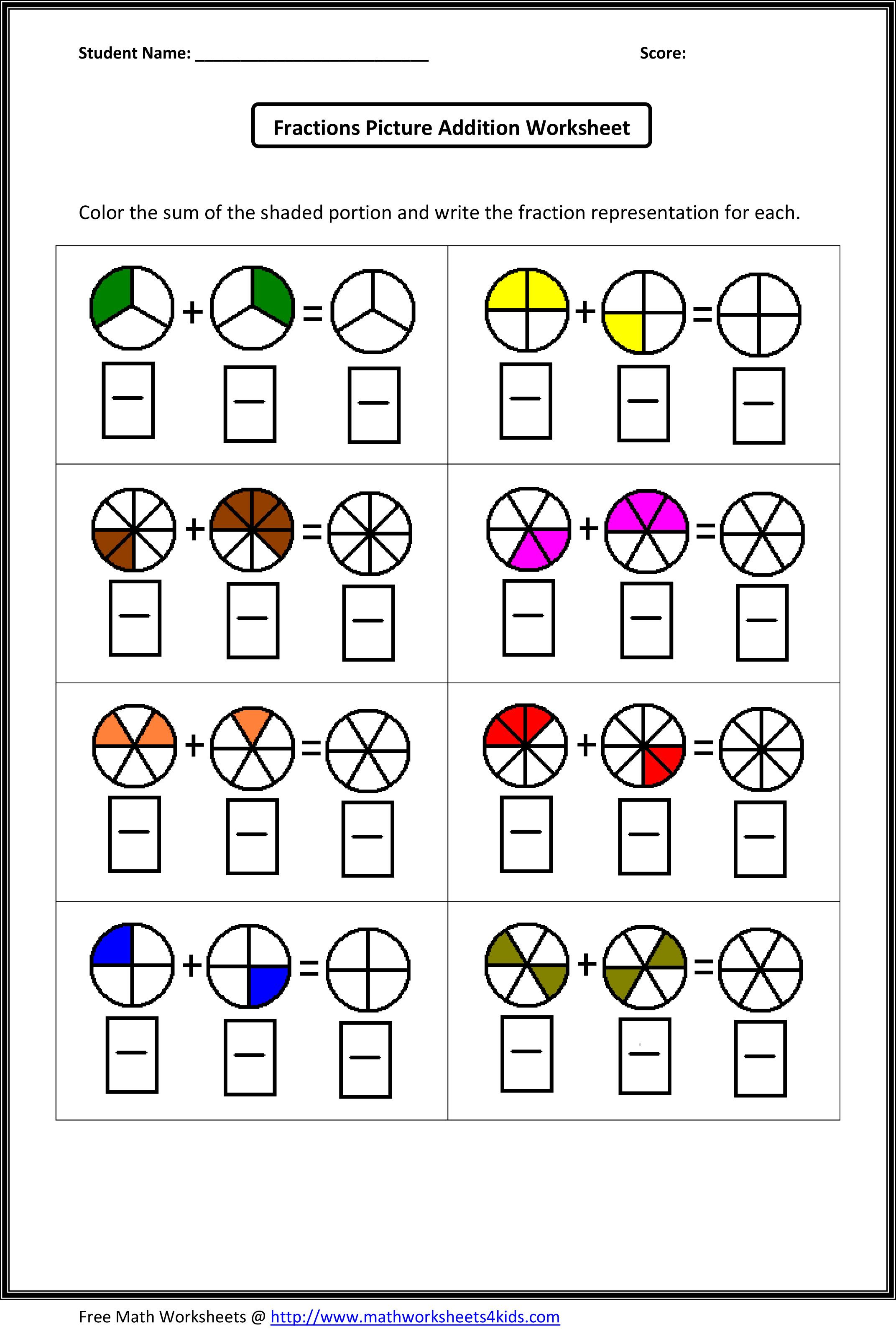 Fraction Addition Worksheets