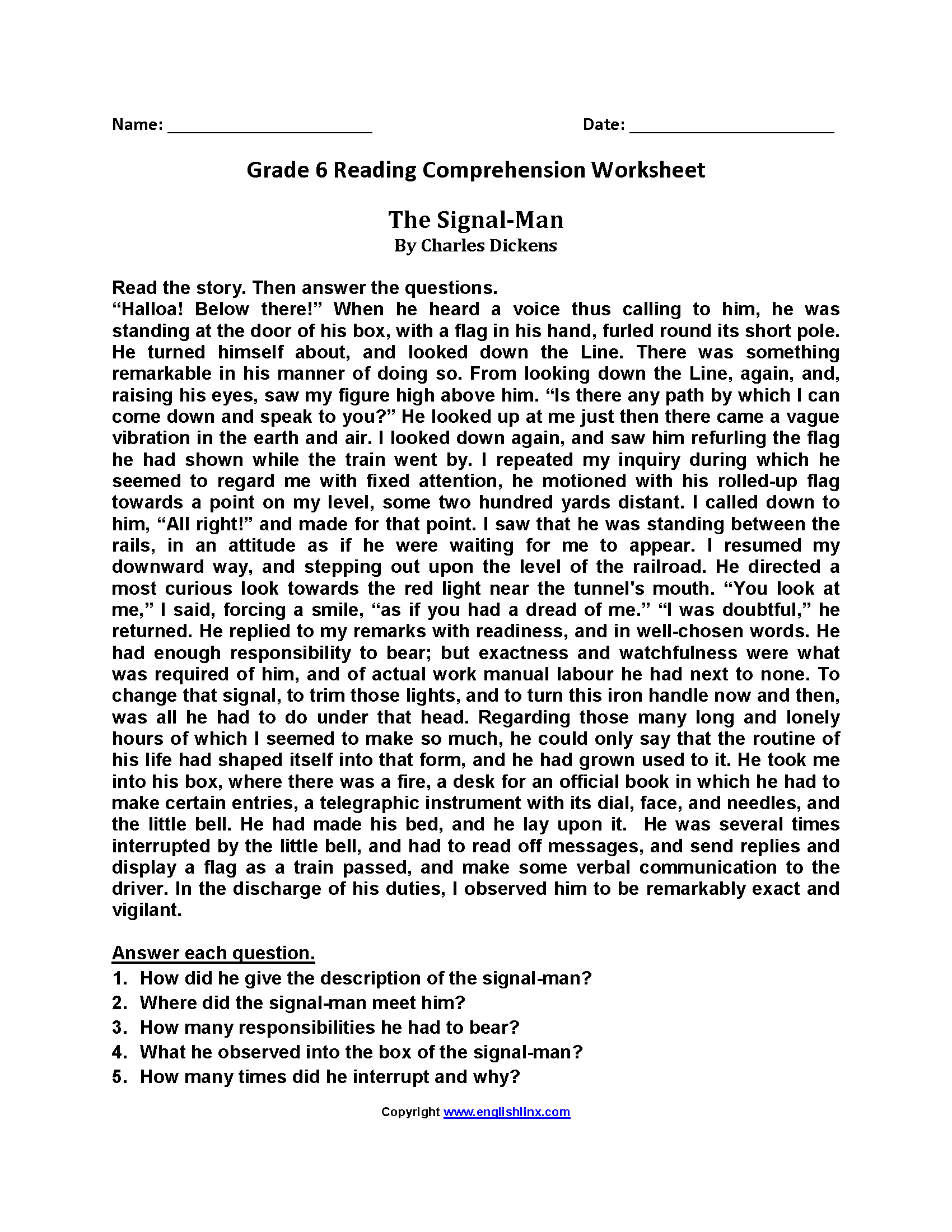 13 Best Reading Comprehension Worksheets Grade 6 Images On