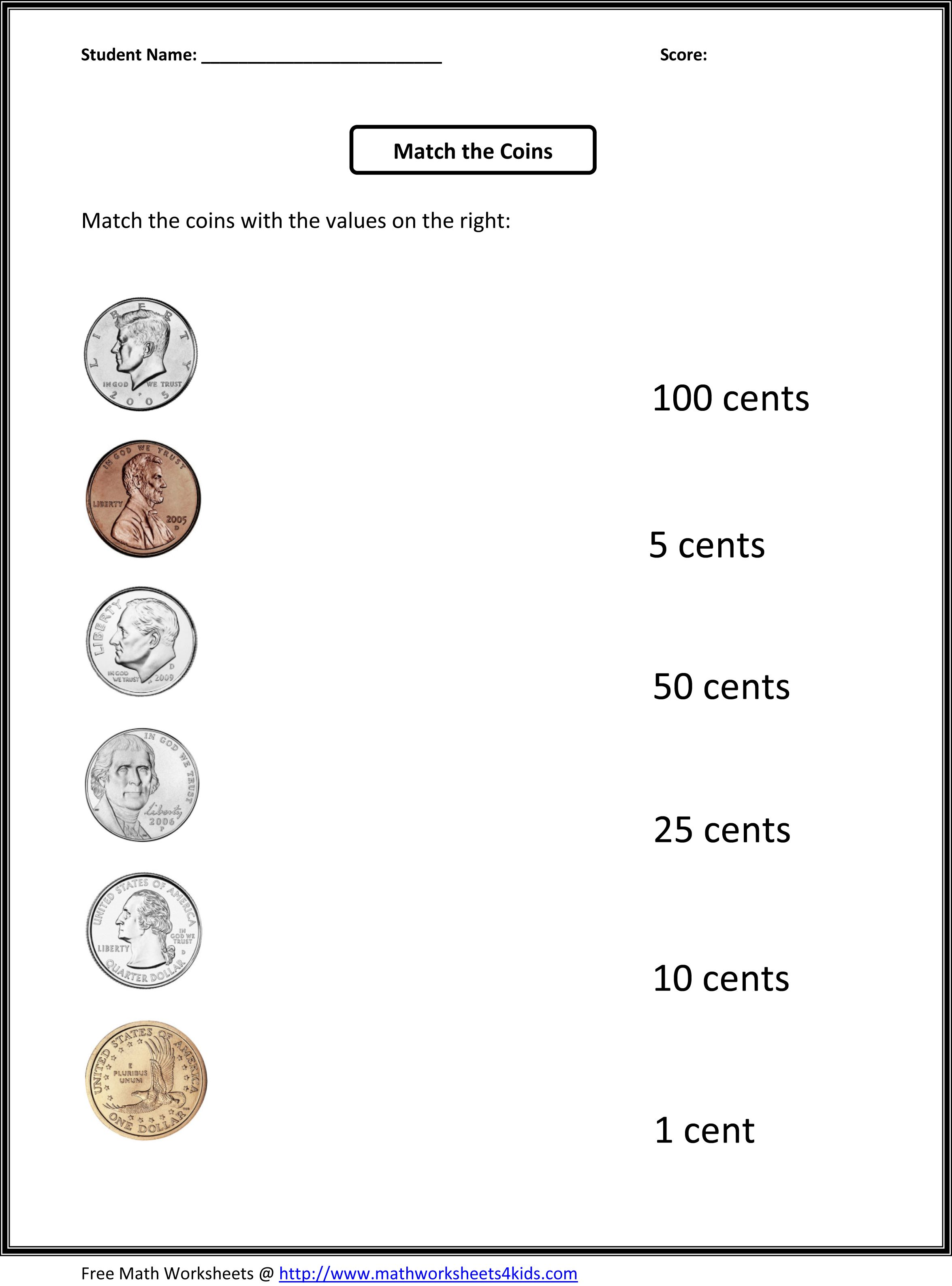 Math Money Worksheets Counting Quarters Dimes Nickels And