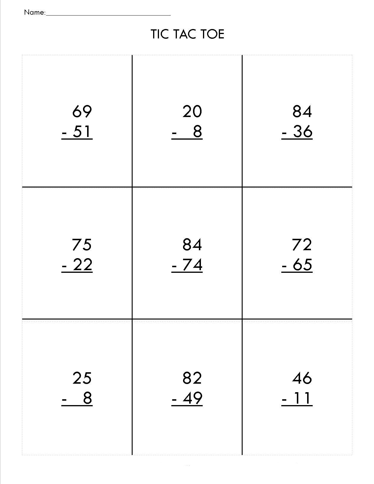 Third Grade Subtraction Worksheets Mental Subtraction