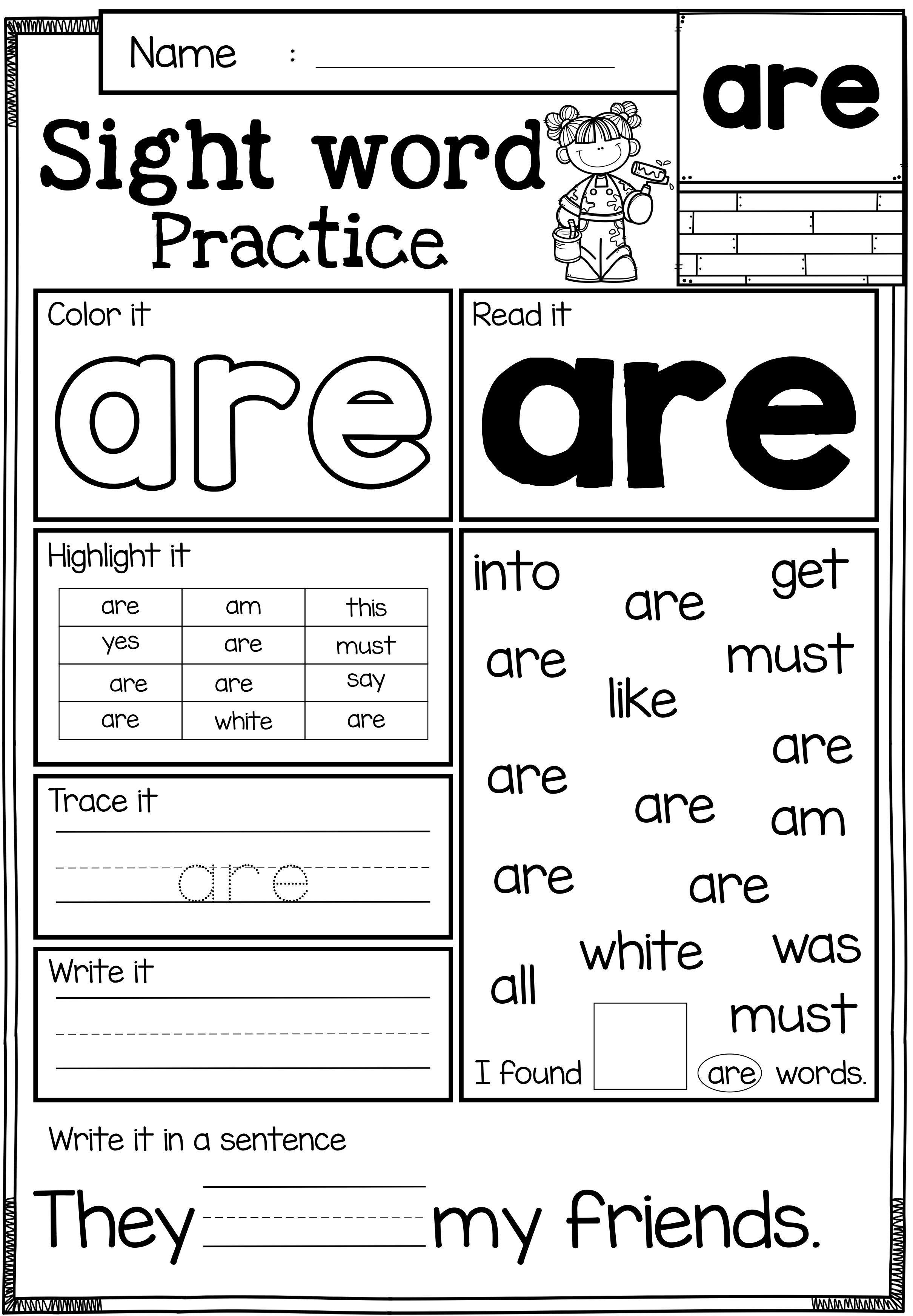 Striking Printable Sight Words For Kindergarten