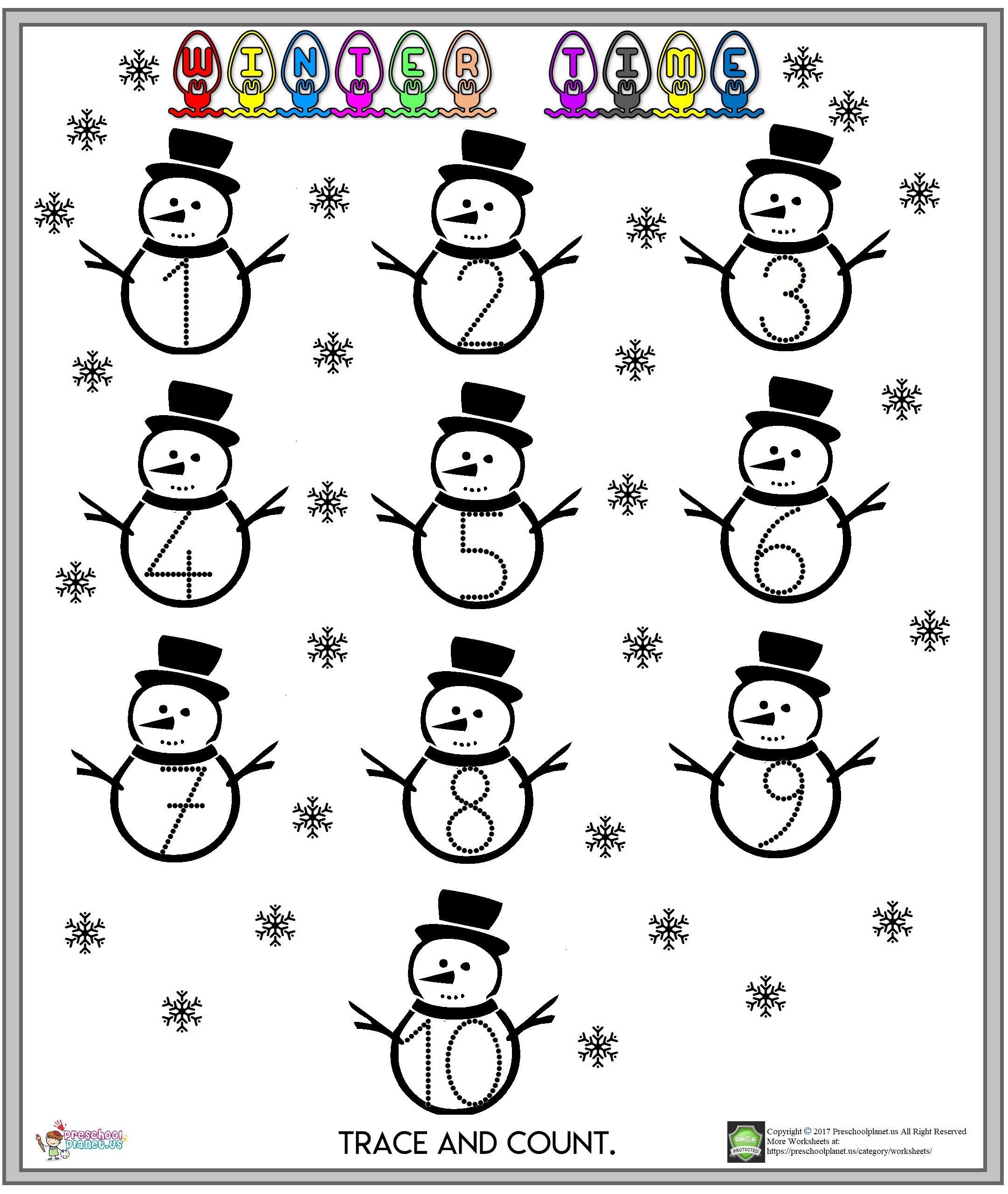 8 Best Worksheets Preschool Printables Winter Images On