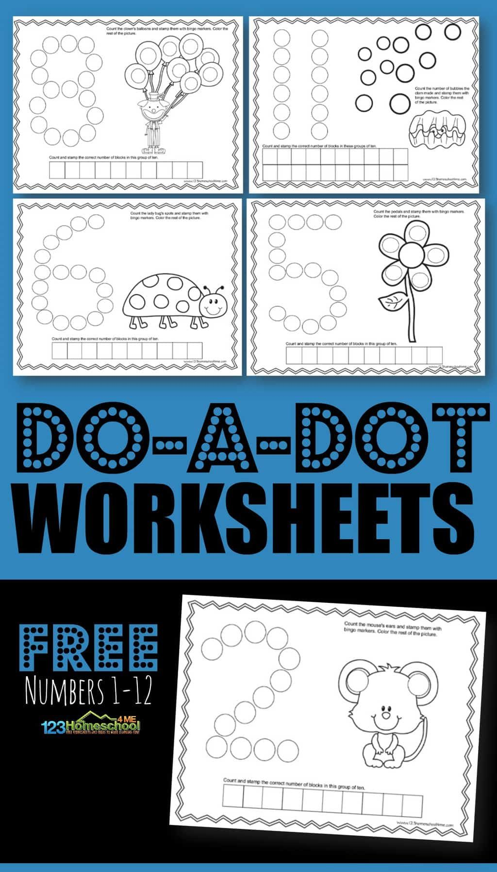 Do A Dot Worksheets Numbers 1 12