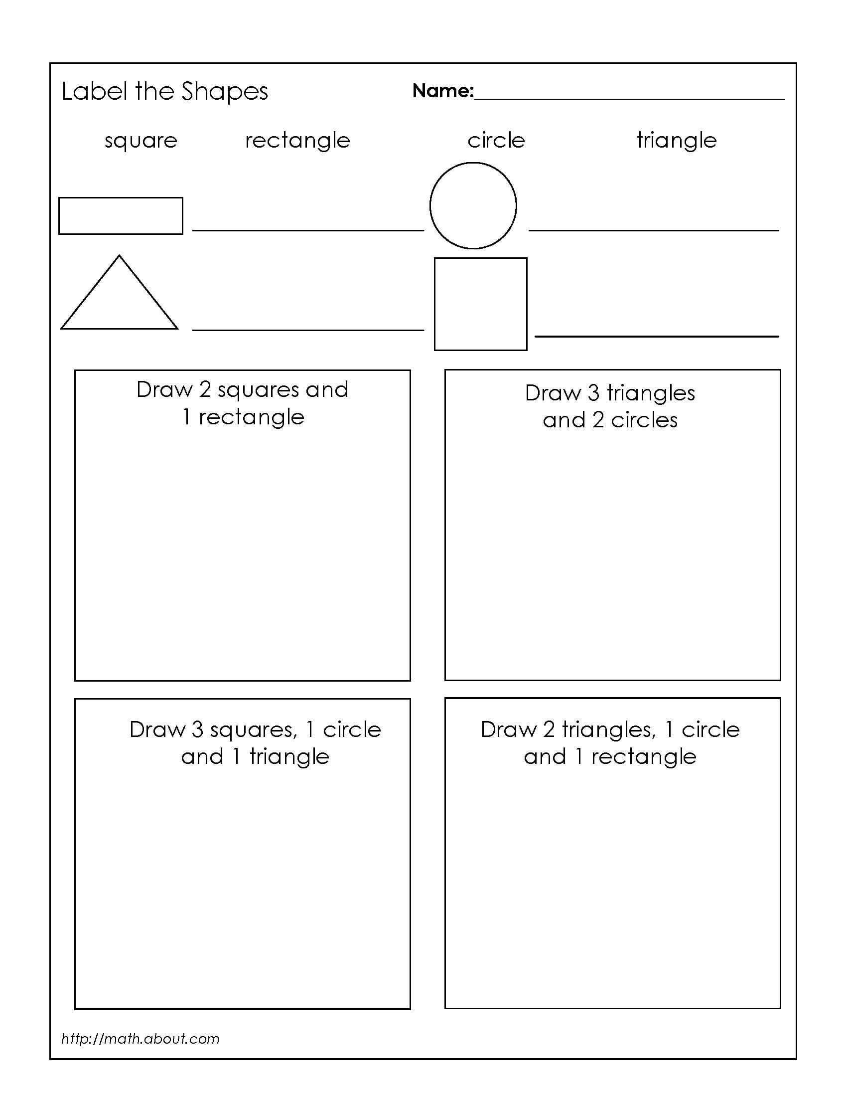 12 Best Printable Shape Worksheets 1st Grade Images On
