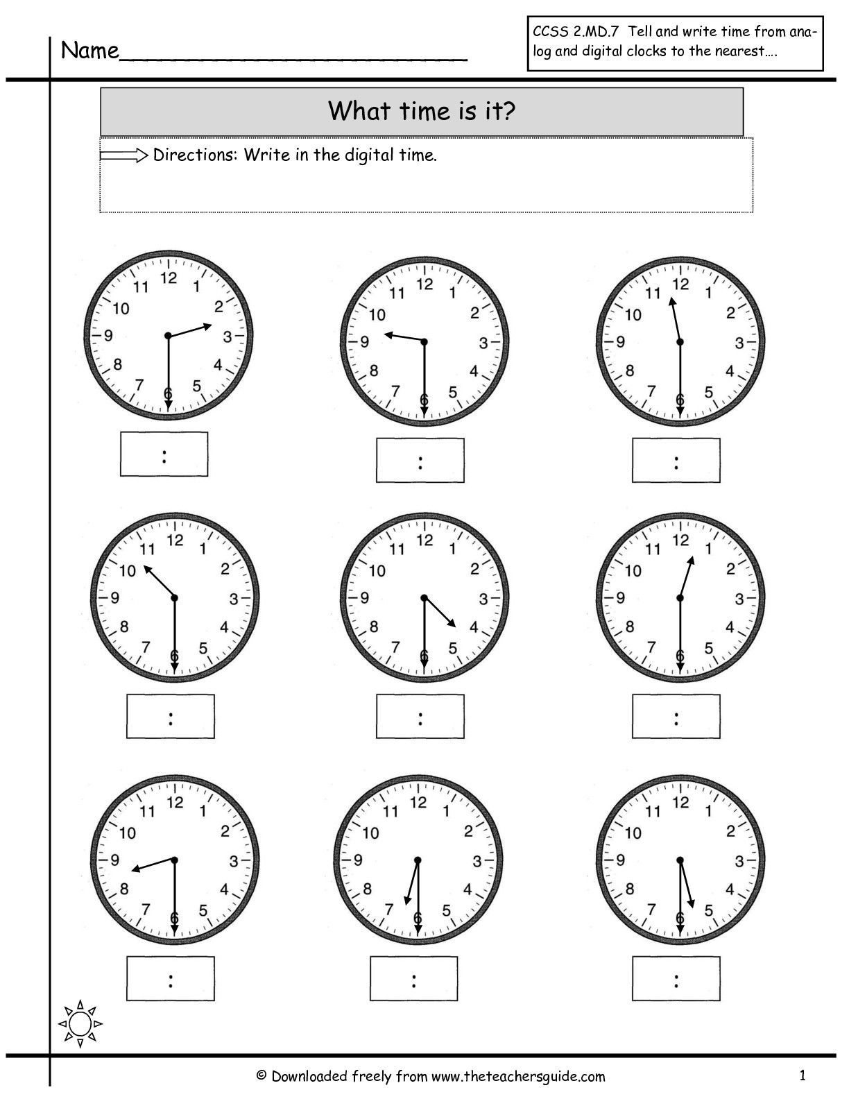 Time Worksheets For Kindergarten For Download