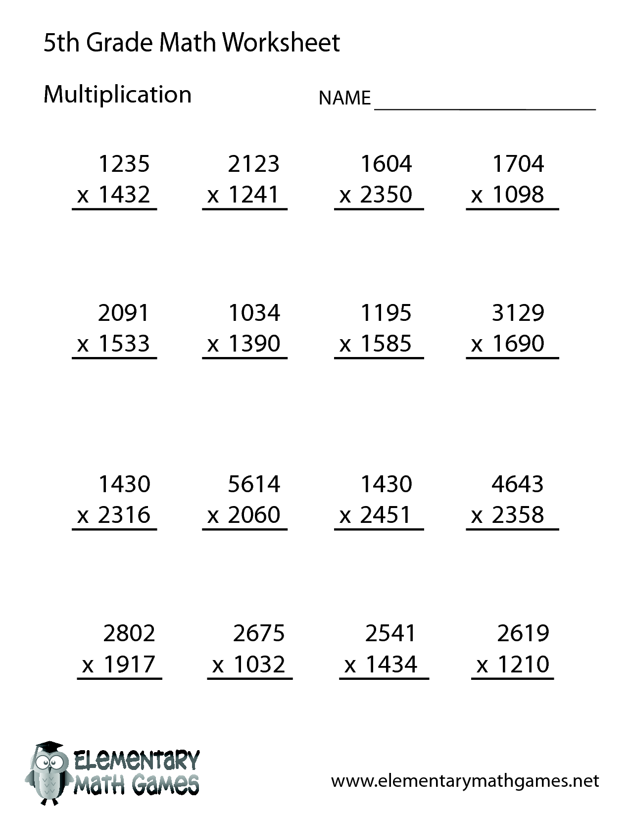 Free Math Worksheets For 5th Grade