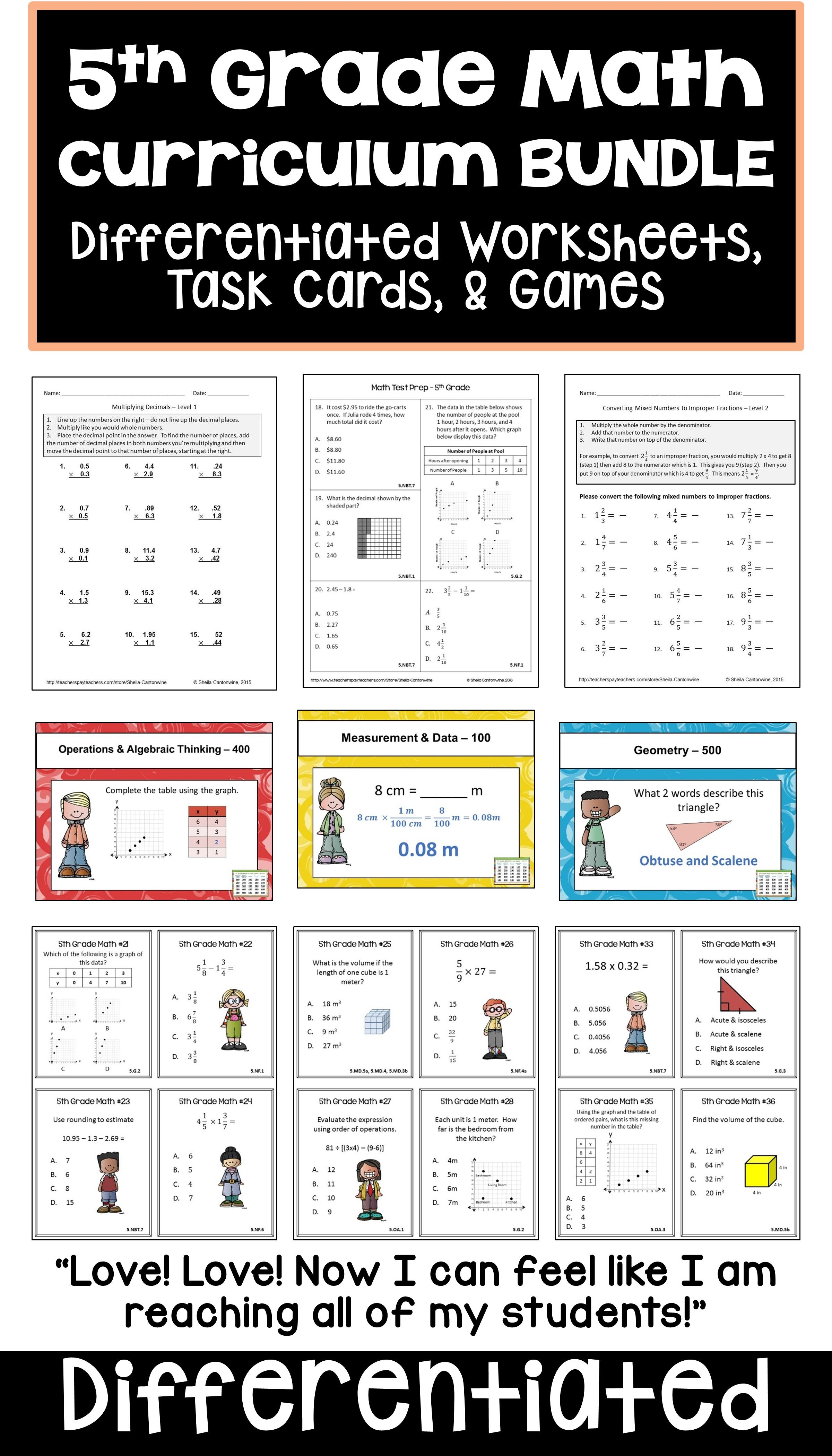 5th Grade Math Curriculum Bundle With Worksheets Task