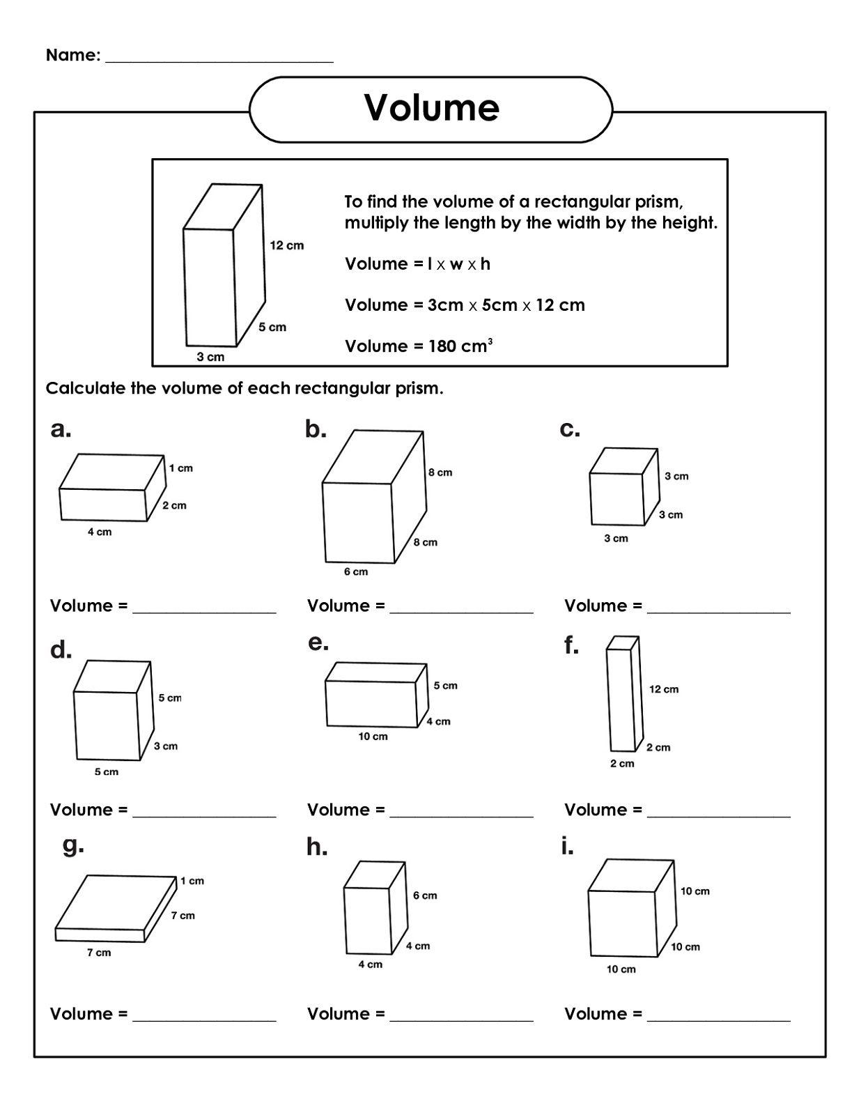 Rectangular Prism Volume