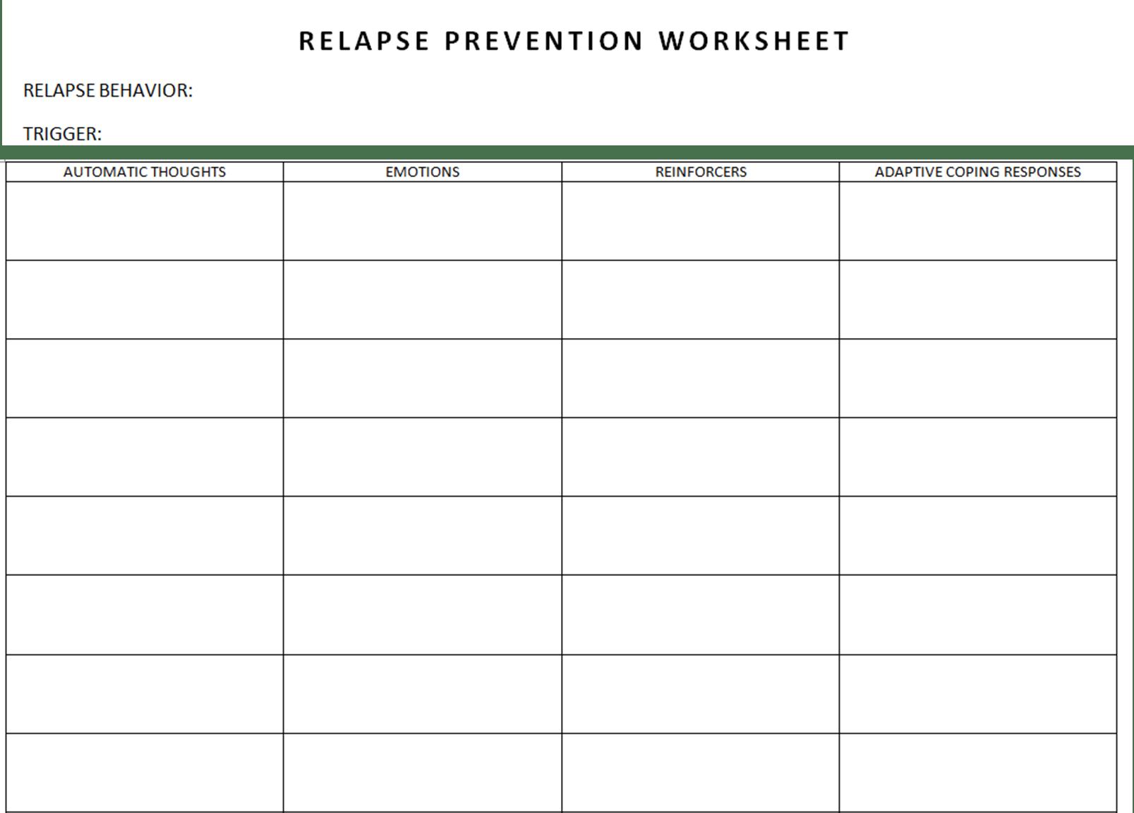 Relapse Prevention Worksheet