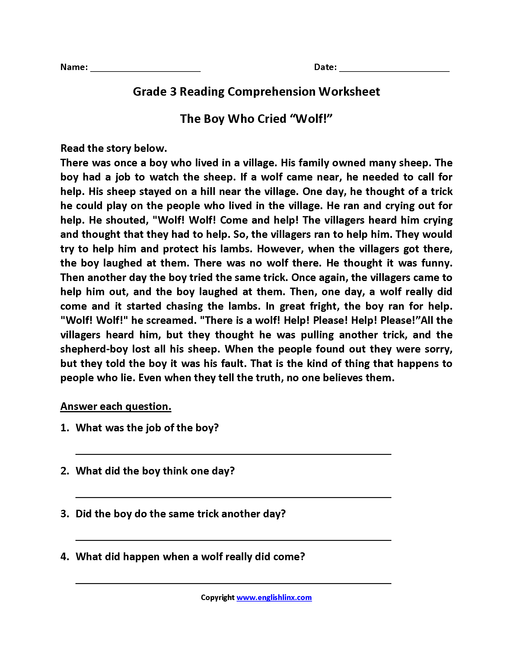 11 Best Comprehension Questions And Worksheets With Answer