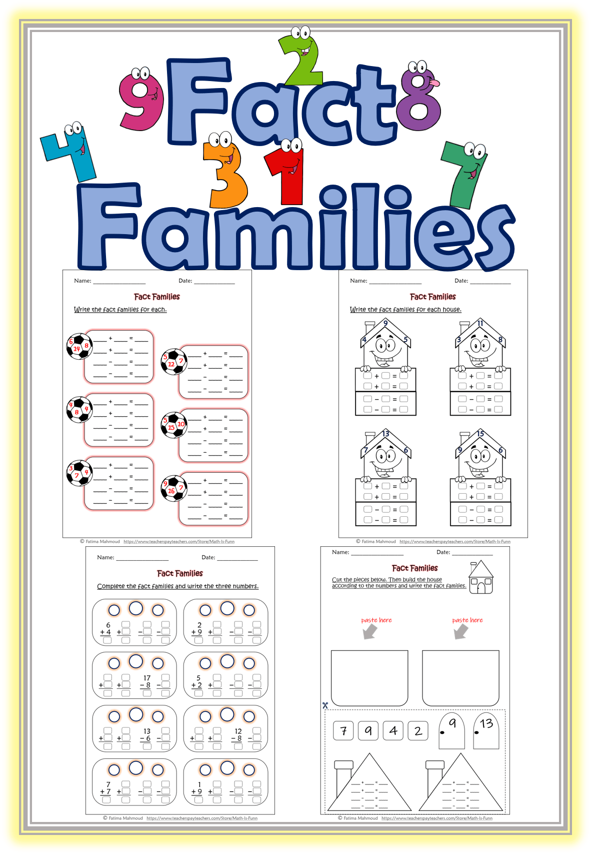 7 Best Multiplication And Division Fact Family Worksheets