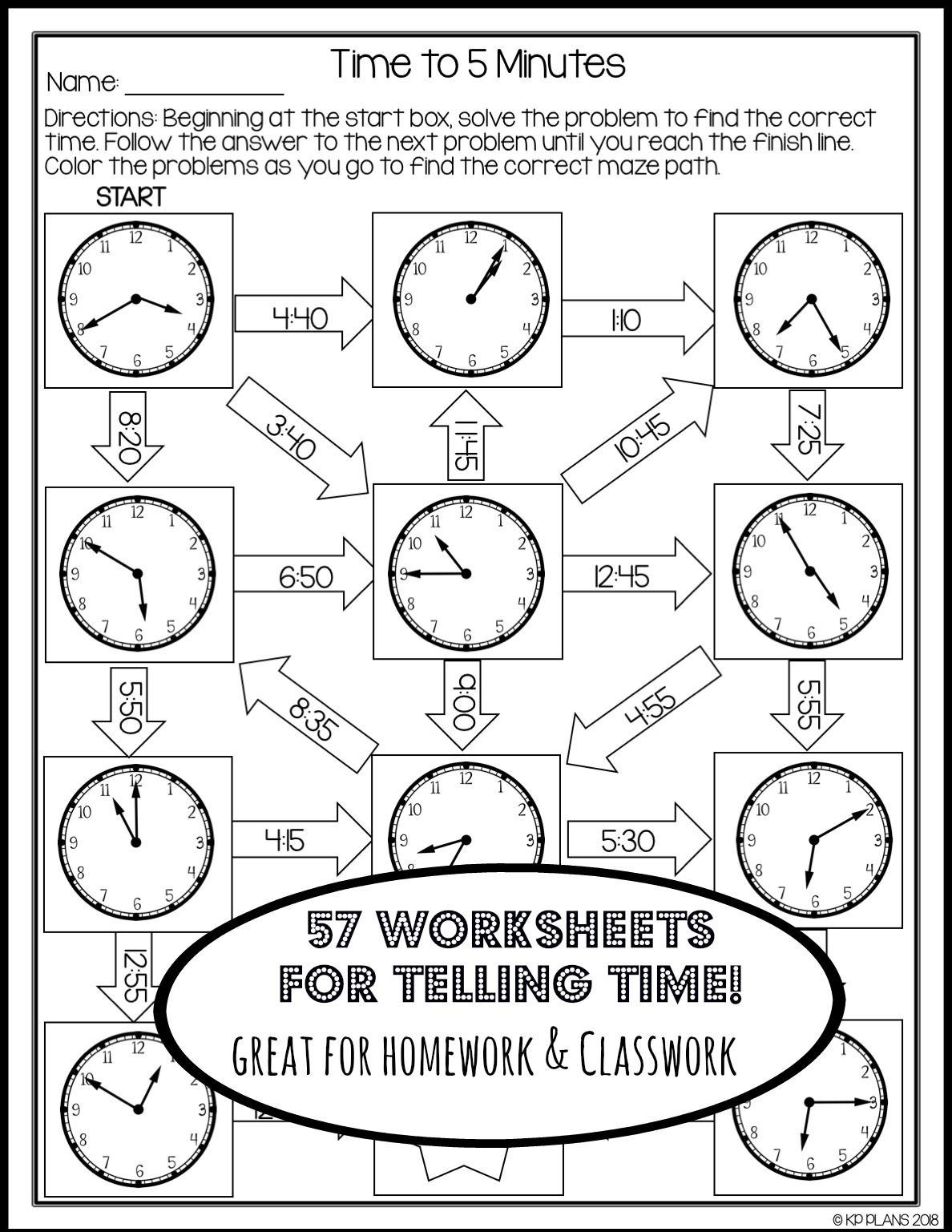 Telling Time Worksheets No Prep