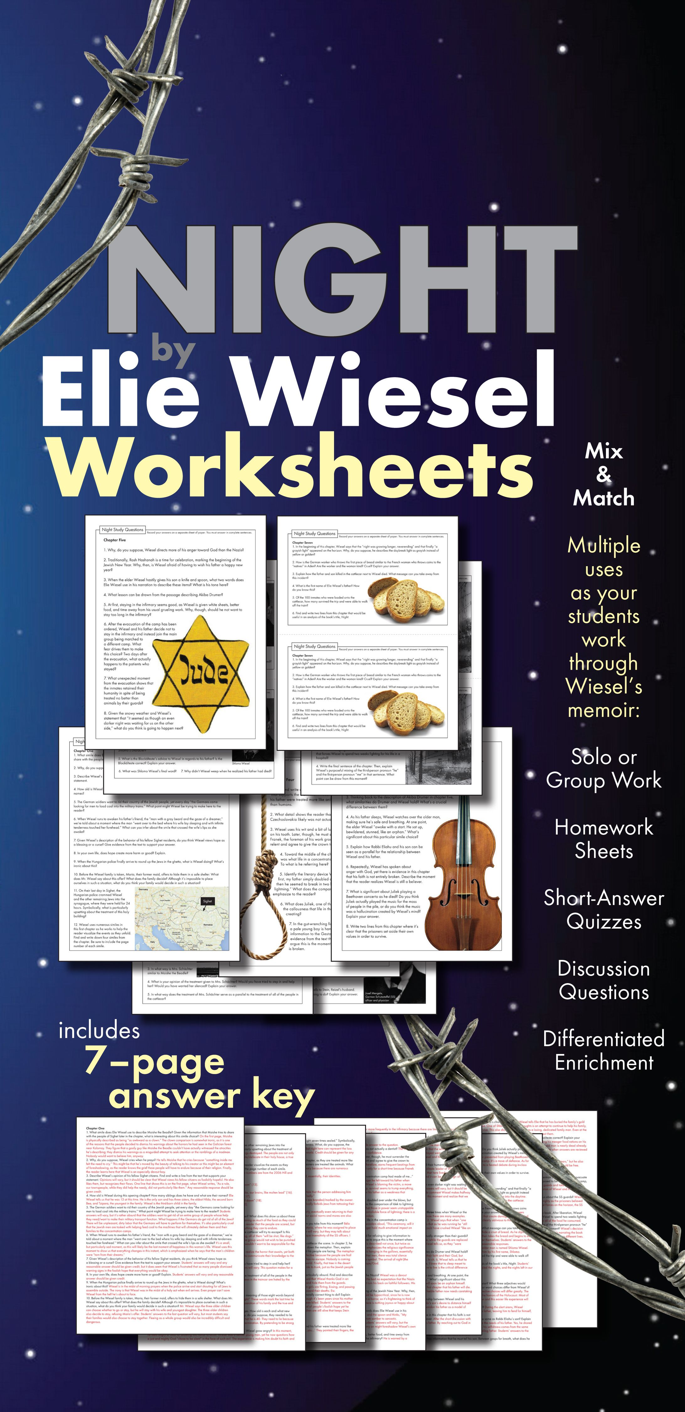 Night By Elie Wiesel Worksheets Hw Discussion Questions