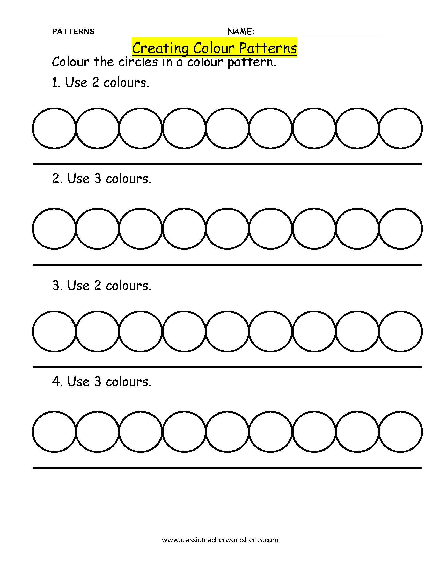 20 Best Pattern Numbers Preschool Worksheets Images On