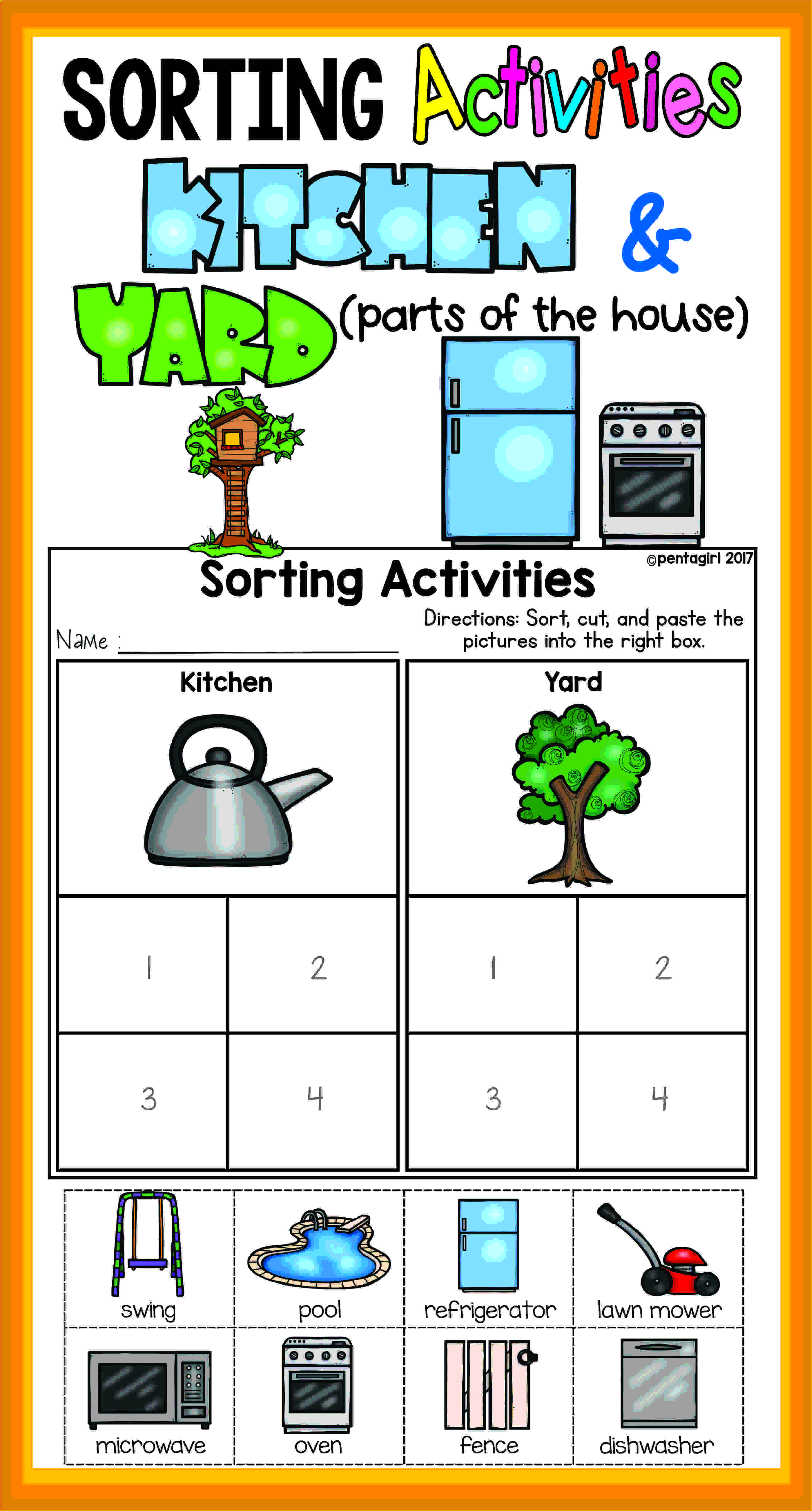 Sorting Activities Posters And Worksheets Kitchen And Yard