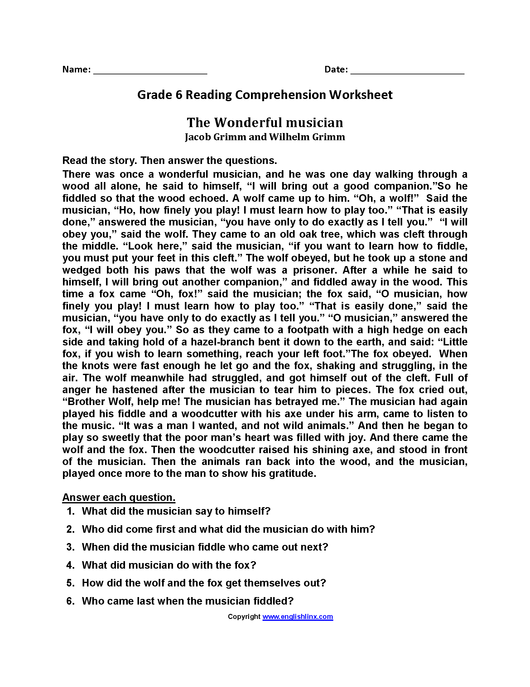 20 Best 6th Grade Reading Comprehension Printable