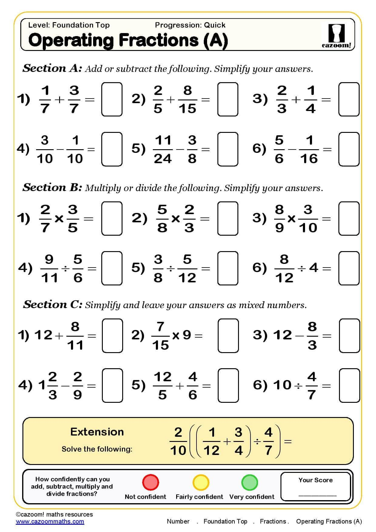 18 Best Subtracting Fractions Worksheets Images On Best