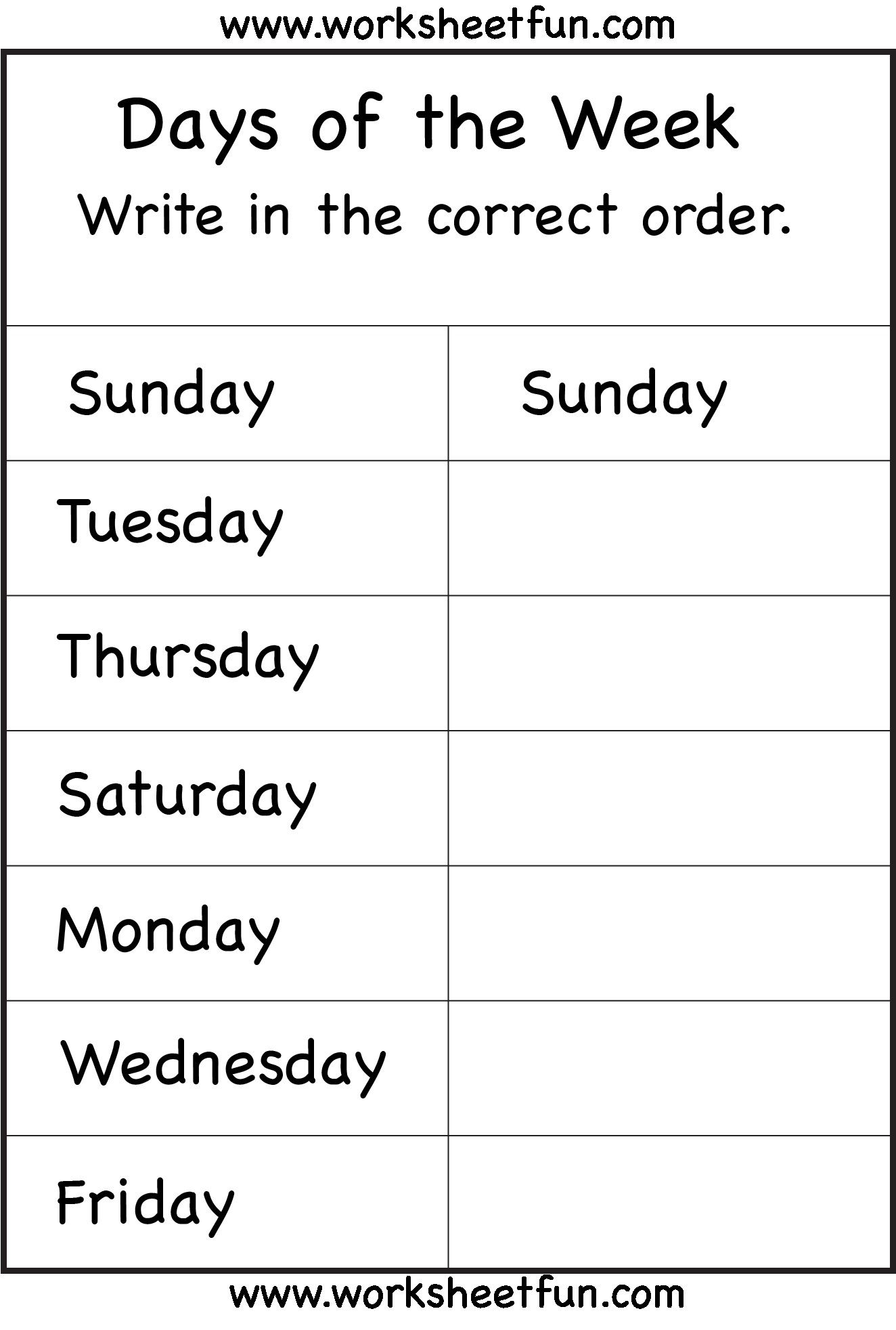 Grade 1 English Worksheets Articles Refrence Days Of The