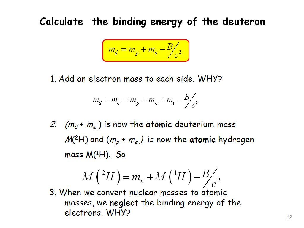 Binding Energy Equation