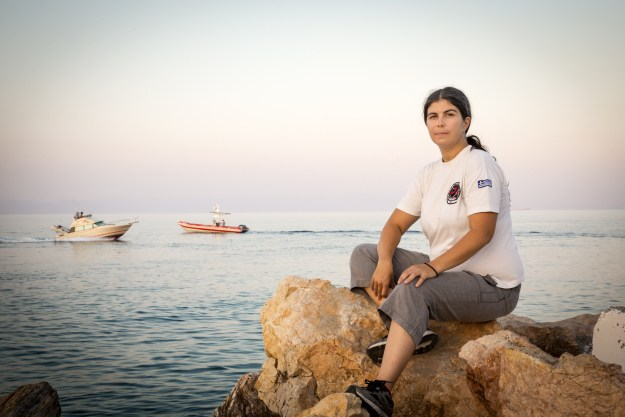Germany, Mytilini, Lesbos, August 11, 2016, Efi Latsoudi, the human rights activist behind PIKPA camp on the Greek island of Lesvos, and Konstantinos Mitragas on behalf of the Hellenic Rescue Team are joint winners of UNHCR's Nansen Award 2016. The award recognizes their tireless efforts to aid refugee arrivals in Greece during 2015. Here: Antigoni, the captain of an rescue boat of a Hellenic Rescue Team on Lesbos. ; Greece has been at the center of Europe's escalating refugee crisis since 2012. On the island of Lesvos alone, record numbers of refugees and migrants arrived last year, with numbers topping 500,000. In October, arrivals peaked at more than 10,000 per day, as conflicts in Syria, Afghanistan and Iraq continued to uproot people from their homes. Other Greek islands, including Samos and Kos, also became safe havens, with thousands taking to dinghies and boats to cross the Aegean Sea from Turkey. Freezing waters, fake lifejackets and surging storms all became risks worth taking – the last in a long line of hurdles.
