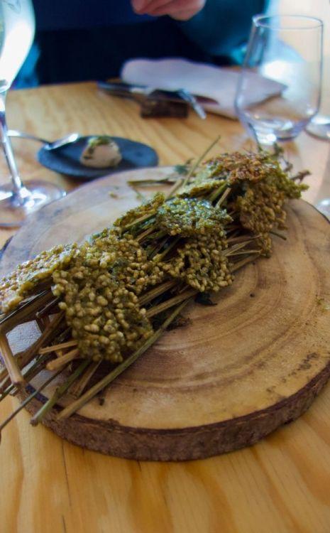 amuse bouche à base de maïs soufflé aux algues