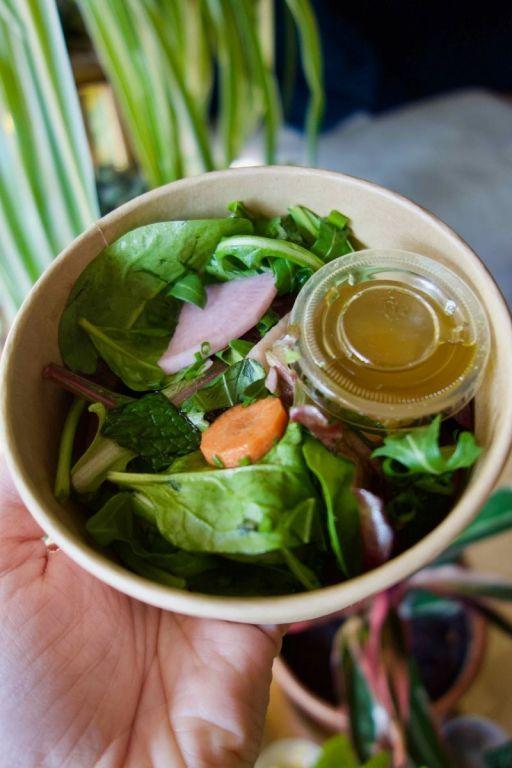salade de pousses de saison et vinaigrette