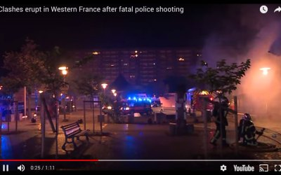 Police Clashes after man shot dead in Nantes