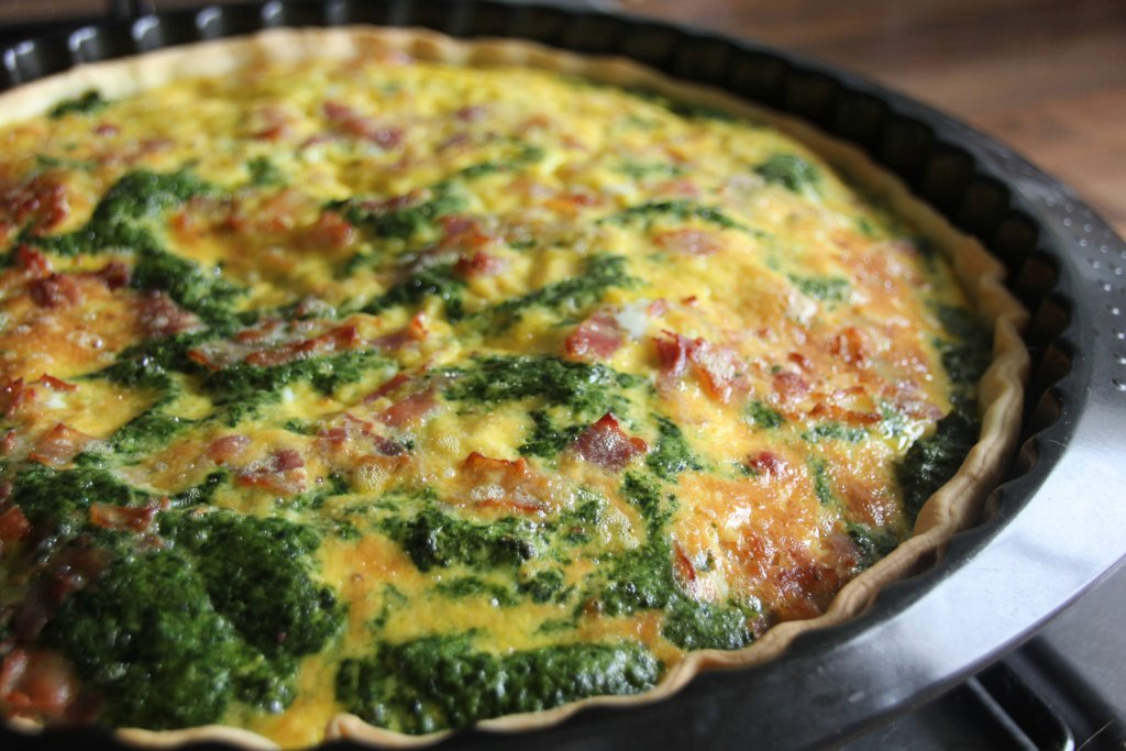 Cooked Spinach and Bacon Quiche