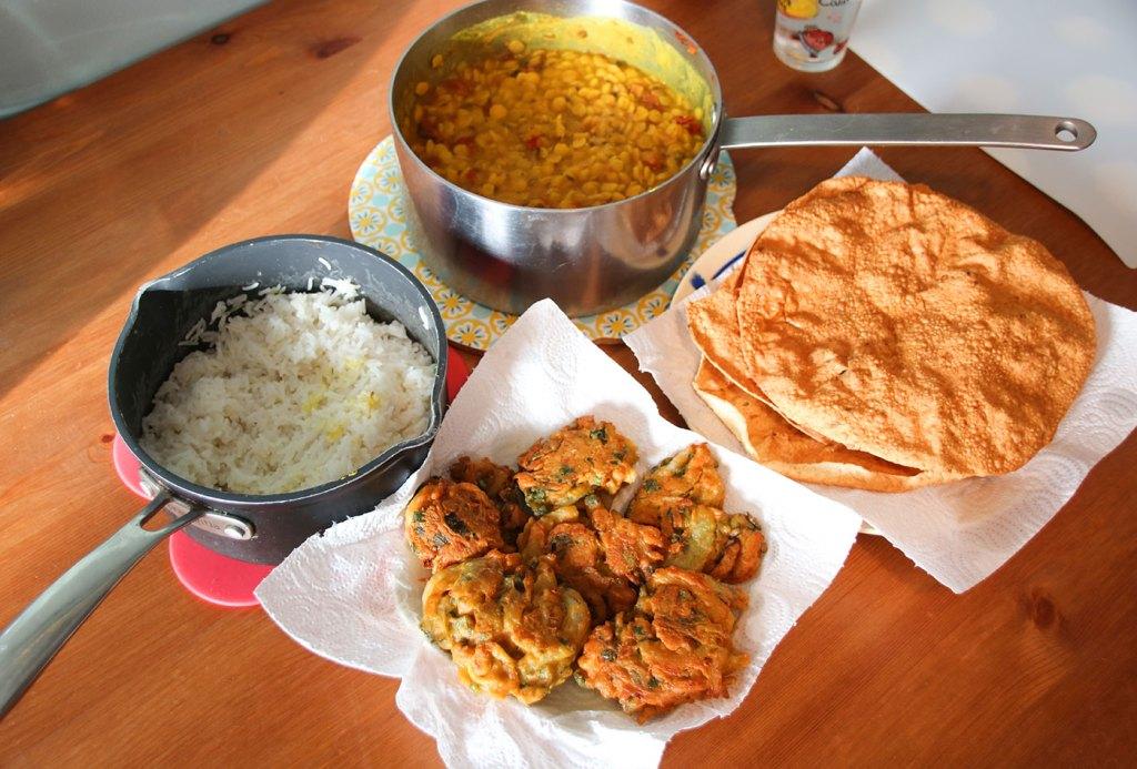 Dhal, Onion Bhajis, and poppadoms