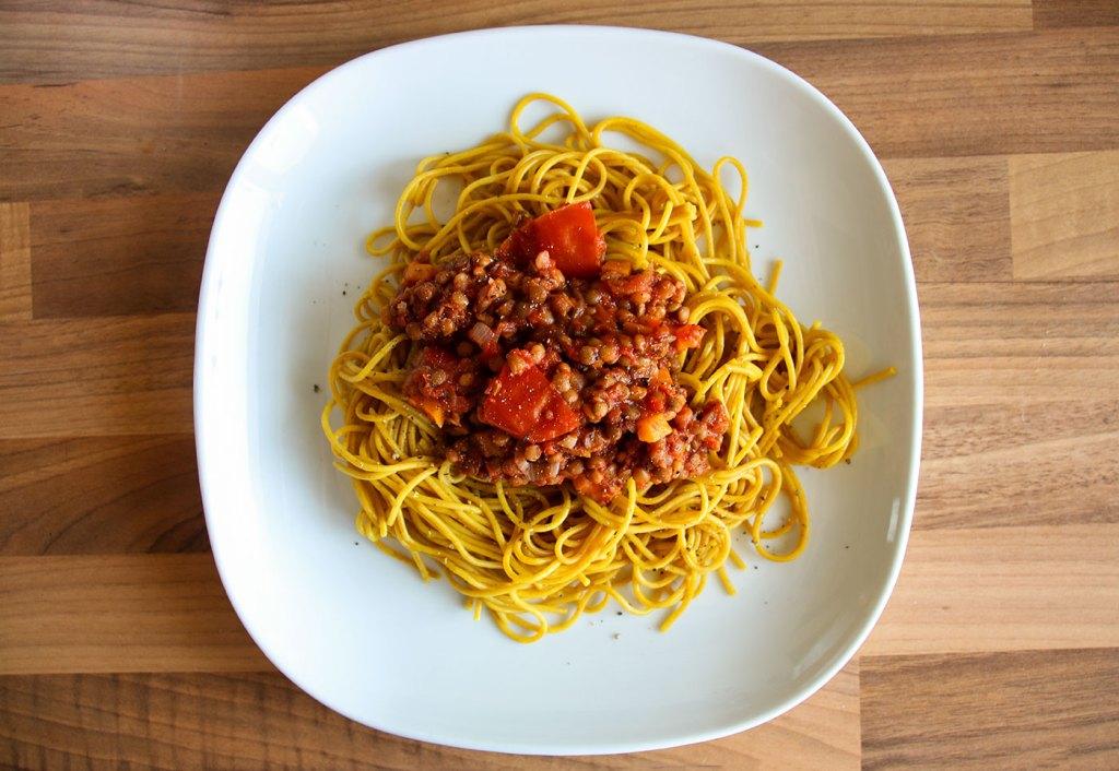 Lentil Spag Bol on a plate