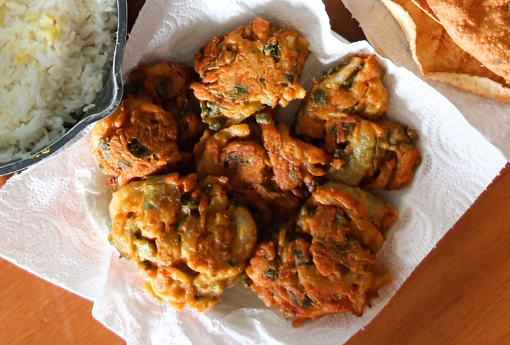 Onion Bhajis With Kitchen Paper