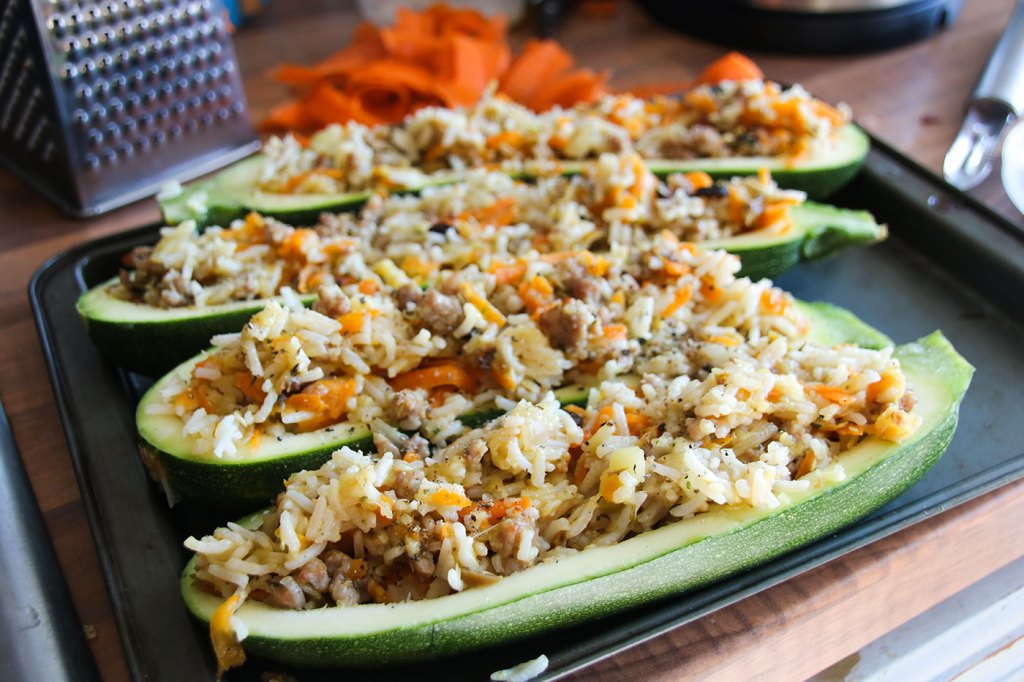 Uncooked Stuffed Courgettes