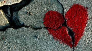 Heart painted on cracked surface