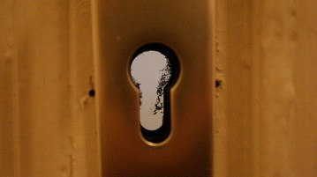 peek through a keyhole