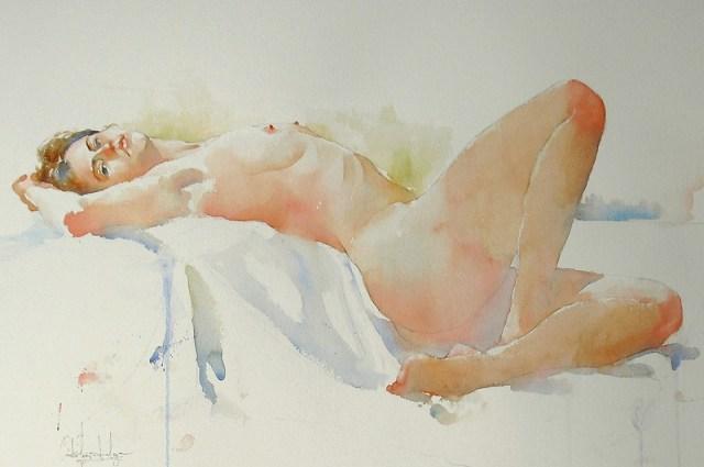 Женское тело отлитое в акварели