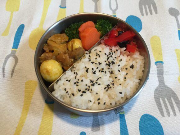 鶏肉とうずら卵のカレー煮 ステンレス製お弁当箱