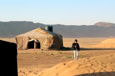 Banheiro do acampamento berber no deserto de Zagora, Marrocos