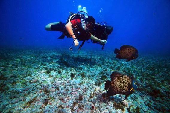 Rodrigo mergulhando com instrutor em Fernando de Noronha