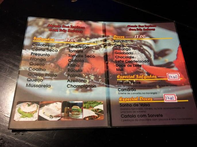 Cardápio da Tapioca da Babalu contendo as opções de recheios de tapiocas e os valores.