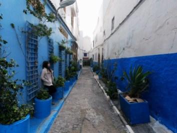 Amanda apreciando as flores na Kasbah de Rabat
