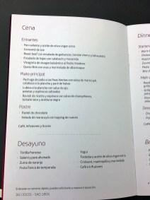 Cardápio: Classe executiva do A330-300 da Iberia de Guarulhos a Madri