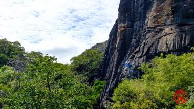 """Escalador na via """"Dilúvio"""" (?)."""