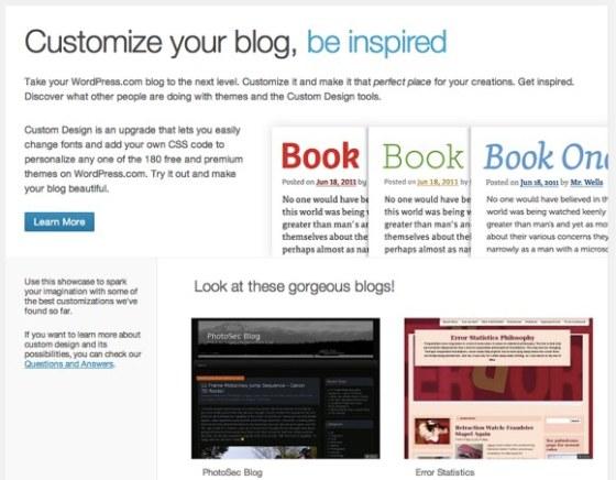 User Theme Customization Showcase on WordPress.com