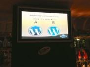 WordPress logo & fauxgo at a sports bar