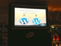WordPress logo & fauxgo at a sports bar