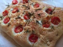 Keita made tomato focaccia for lunch