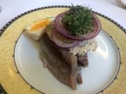 Pickled herring smørrebrød at Told & Snaps