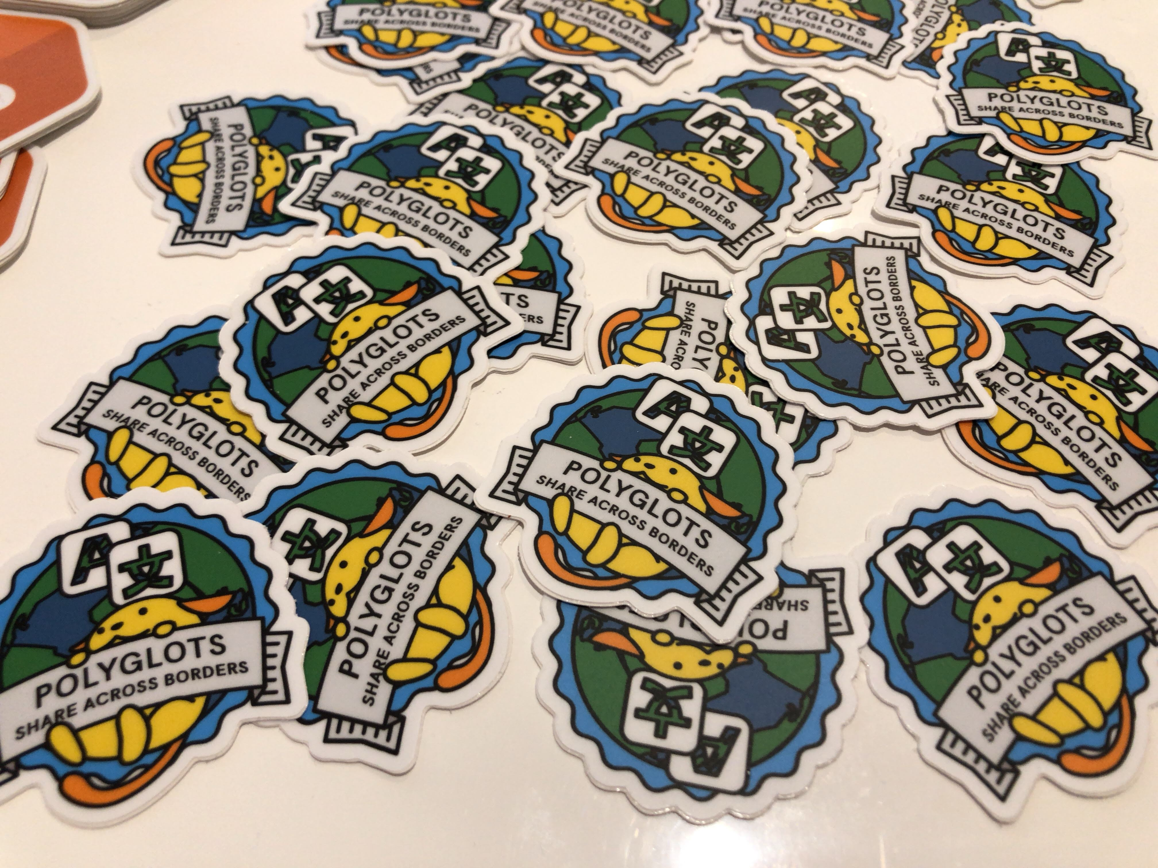 Polyglots stickers at GoDaddy booth