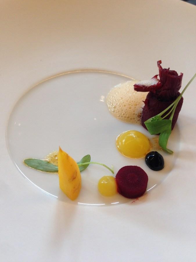 Appetizer - root vegetable salad.