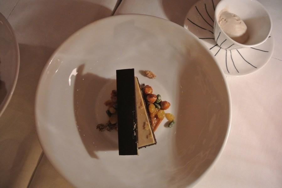Sketch Chocolate with hazelnut praline, raisins and pistachios.